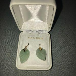 14k Gold and Jade Leaf Earrings